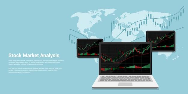 Ilustración de banner de estilo flact del análisis del mercado de valores, concepto de comercio de divisas en línea