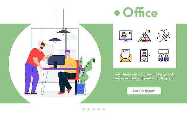 Ilustración de banner de hombre sentado en el escritorio, trabajando en una computadora portátil, colega analiza las tareas de trabajo. centro de coworking, proceso de trabajo en equipo en la oficina. conjunto de iconos lineales de color - colaboración en equipo empresarial