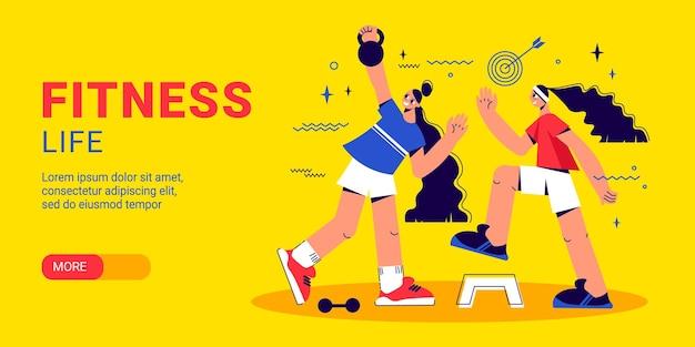 Ilustración de banner horizontal de fitness y estilo de vida saludable