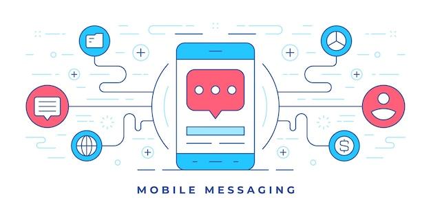 Ilustración de un banner de línea plana con iconos alrededor de un teléfono inteligente moderno que representa la mensajería móvil