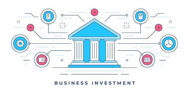 Ilustración de banner de línea plana con iconos gráficos alrededor del edificio del banco diseñado