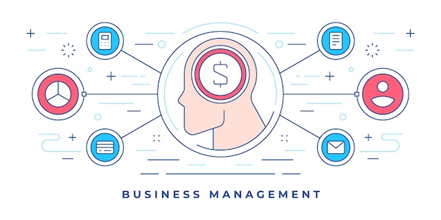 Ilustración de banner de línea plana con iconos gráficos alrededor del perfil humano con símbolo de dinero
