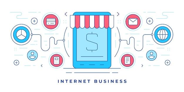 Ilustración de banner de línea plana con iconos que rodean la tableta moderna y la tienda en línea