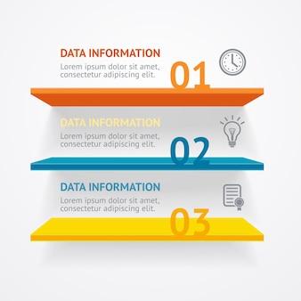 Ilustración. banner de opciones de estantes coloridos de infografic.