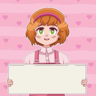 Ilustración de banner de protesta de elevación de personaje de manga cómico de niña pequeña