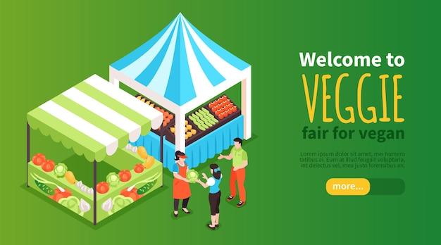Ilustración de banner de puestos de comida isométrica