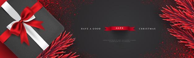 Ilustración de banner de saludos de navidad