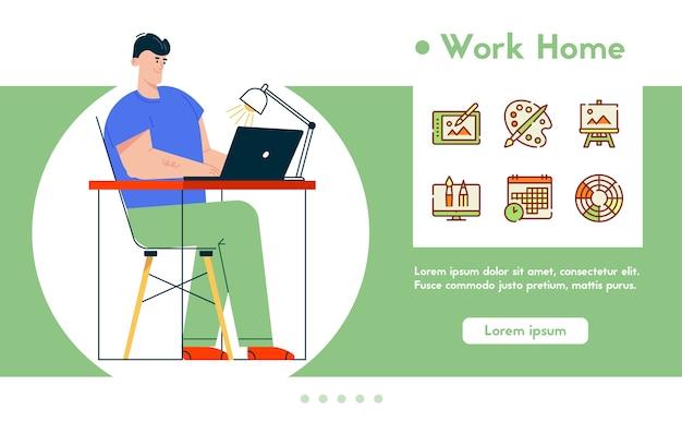 Ilustración de banner de trabajo creativo en casa. hombre ilustrador er se sienta en el escritorio, trabajando en la computadora portátil. trabajo a distancia, autónomo. conjunto de iconos lineales de color: gráficos digitales, lienzo de artista y herramientas
