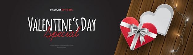 Ilustración de banner de venta de día de san valentín realista 3d