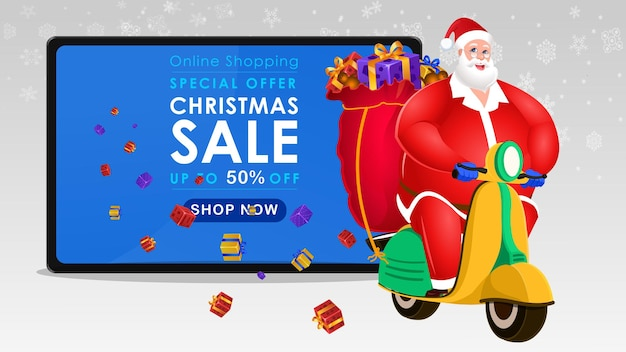 Ilustración de banner de venta de navidad con santa claus tomando regalos de navidad