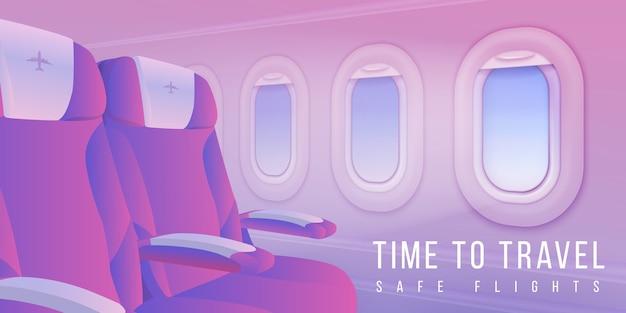 Ilustración de banner de ventanas de avión