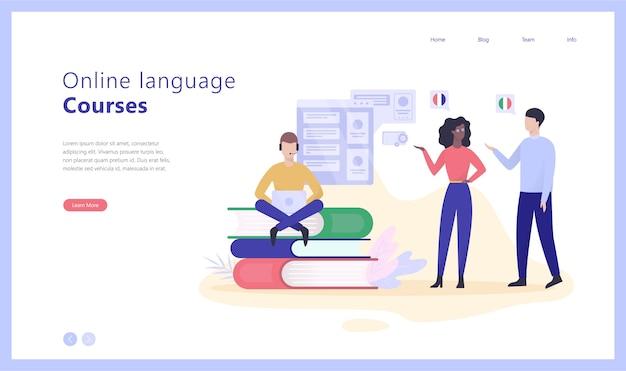 Ilustración de banner web de concepto de cursos de idiomas en línea