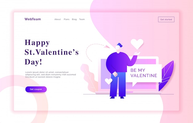 Ilustración de banner de web de san valentín
