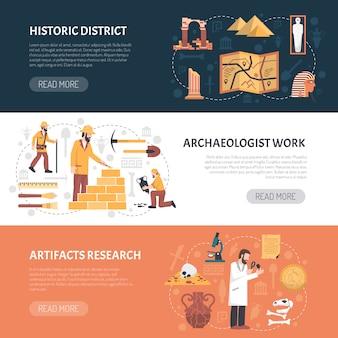 Ilustración de banners de arqueología