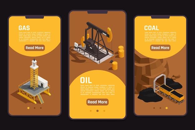 Ilustración de banners de pantallas móviles de extracción de recursos naturales