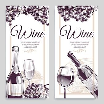 Ilustración de banners de vino de bosquejo