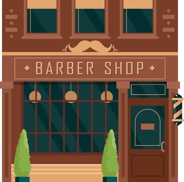 Ilustración de barbería de fachada vintage de edificio de ciudad. salón de hombres de vista frontal de dibujos animados.