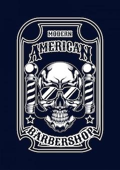 Ilustración de barberskull para camiseta