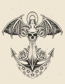 Ilustración barco ancla vintage con calavera de demonio y flor rosa