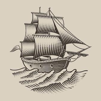 Ilustración de un barco de época en estilo de grabado sobre fondo blanco. aislado.