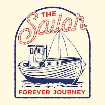 Ilustración de barco marinero