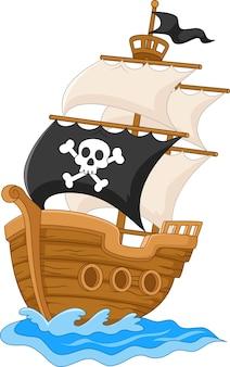 Ilustración de barco pirata
