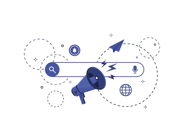 Ilustración de la barra de búsqueda en diseño plano