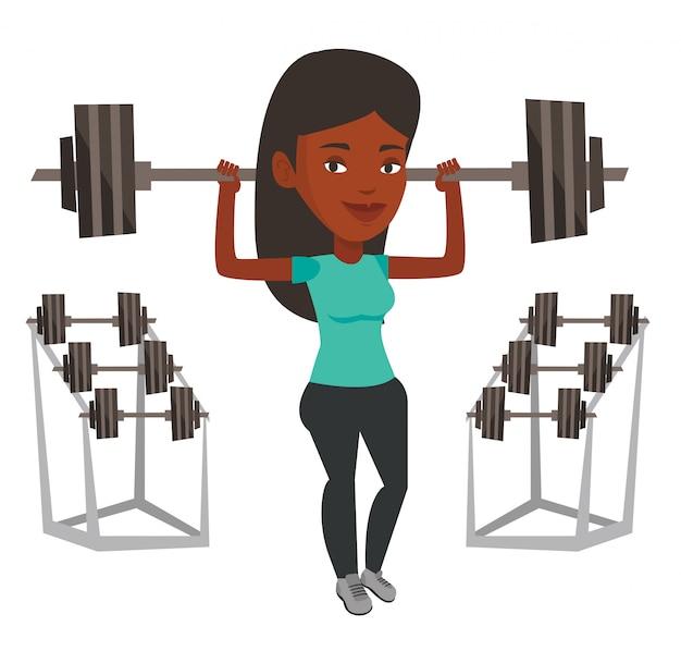 Ilustración de barra de elevación de mujer.