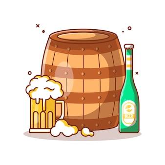 Ilustración de barril de madera y cerveza