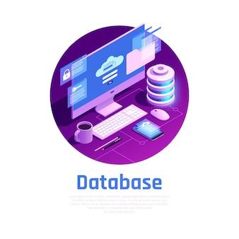 Ilustración de base de datos isométrica