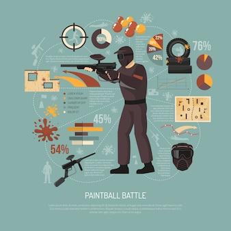 Ilustración de batalla de paintball