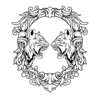 Ilustración de batalla de tigre