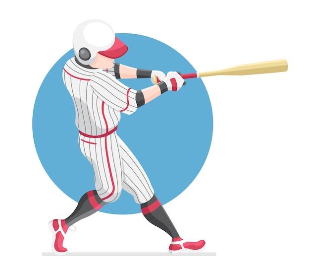 Ilustración de bate de swing de jugador de béisbol de estilo plano