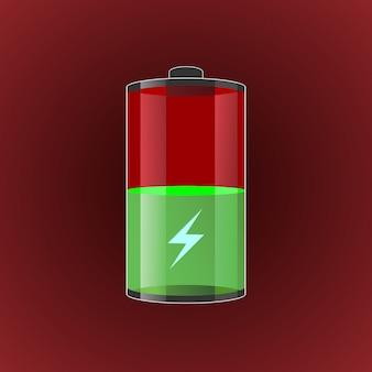 Ilustración de baterías cargadas transparentes.