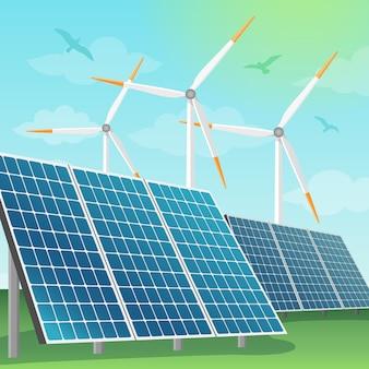 Ilustración de baterías solares y molinos de viento
