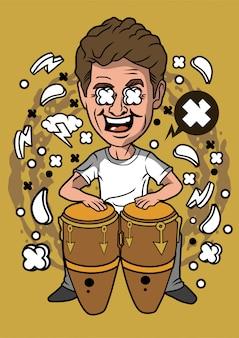 Ilustración de baterista de conga