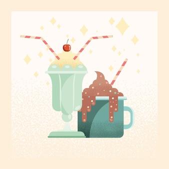 Ilustración de batido y chocolate