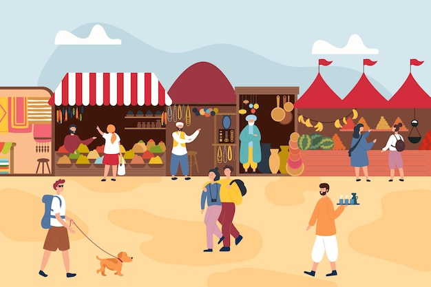 Ilustración de bazar árabe con carpas.