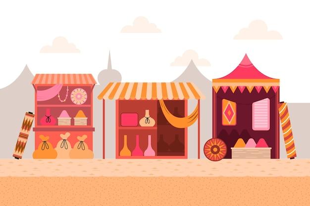Ilustración de bazar árabe con comerciantes y clientes.
