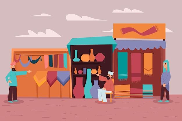 Ilustración de bazar árabe con gente