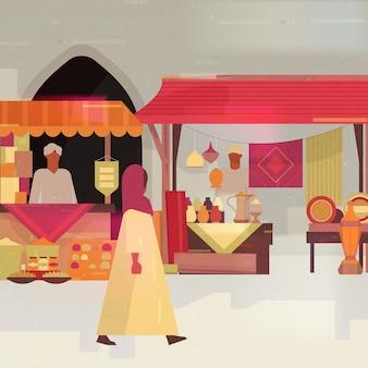 Ilustración de bazar árabe