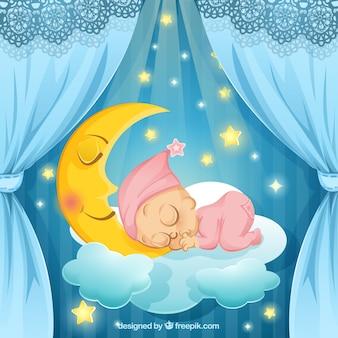 Ilustración de bebé durmiendo Vector Premium