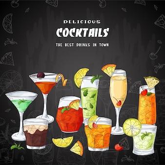 Ilustración de bebidas cócteles de bar