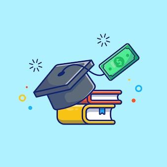 Ilustración de becas. casquillo de la graduación, libro y dinero.