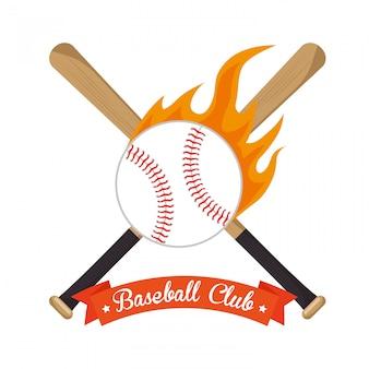 Ilustración de béisbol cruzó bates y estrellas de pelota