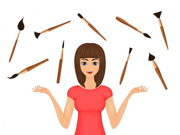 Ilustración de la belleza. chica modelo con set de cepillos cosméticos.