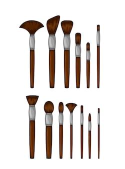 Ilustración de belleza con conjunto de cepillos cosméticos.