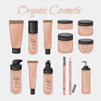 Ilustración de belleza con frascos cosméticos orgánicos. estilo de dibujos animados .