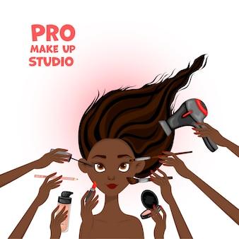 Ilustración de belleza con rostro femenino africano y manos con cosméticos