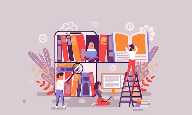 Ilustración de la biblioteca de libros